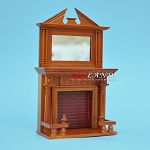 Victorian Elegant Mirrored Fireplace Walnut 1:12 dollhouse miniature